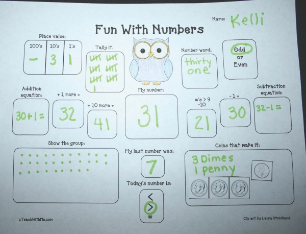 Monthly Graphic Organizers for Math
