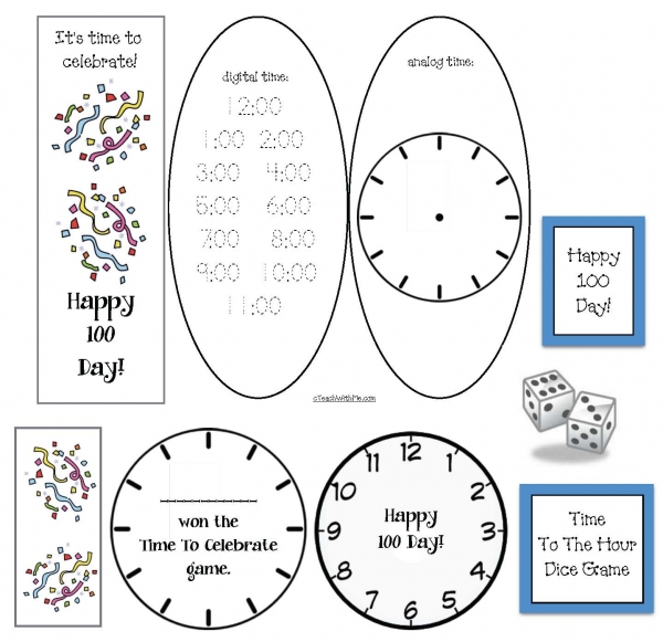It's Time To Celebrate 100 Day Clock Game
