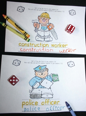Roll and Color Community Helpers Dice Game