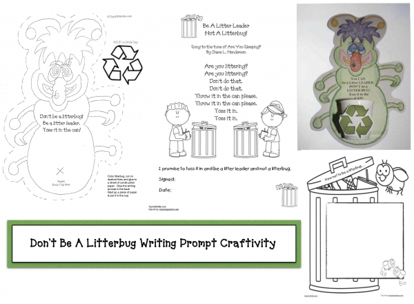 Don't Be A Litterbug Earth Day Writing Prompt Craftivity