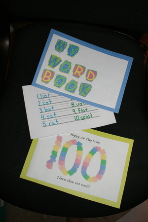 100 Day Booklet: 100 Words For 100 Day