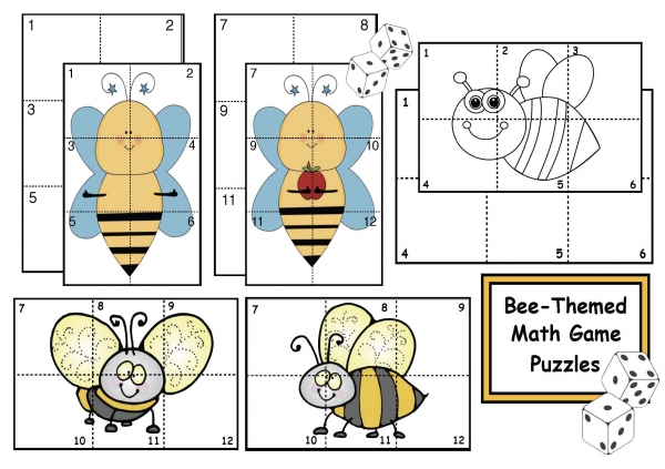 Bee-Themed Math Game Puzzles