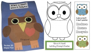 Give a Hoot Don't Pollute Earth Day Writing Prompt Craftivity