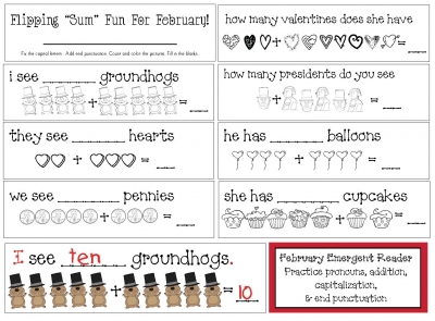 "Flipping For ""Sum"" February Fun An Emergent Reader"