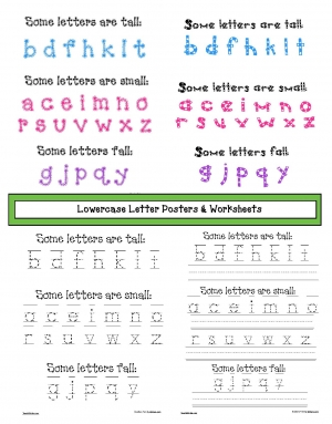 Lowercase Letter Posters and Worksheets