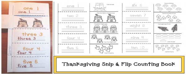 Thanksgiving Snip and Flip Emergent Reader Booklet