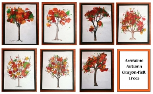 Autumn Crayon-Melt Trees