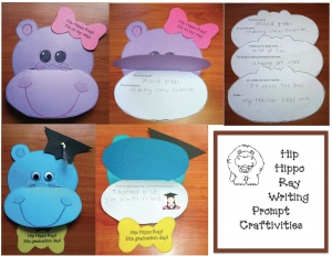 Hip Hippo Ray Writing Prompt Craftivities & Bookmarks