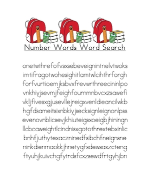 Number and Color Words Word Finds