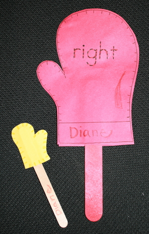 Right and Left Mitten Manipulative