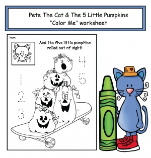 "Pete the Cat's ""5 Little Pumpkins"" Worksheet"