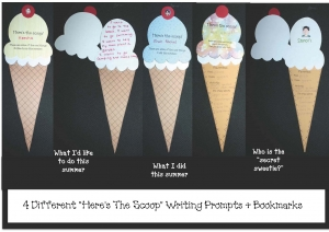 Here's The Scoop Writing Prompt Craftivities & Bookmarks