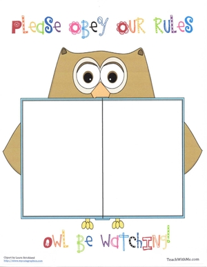 Owl Rule Anchor Chart Poster