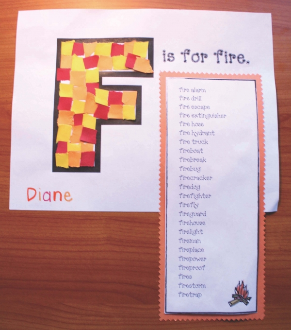 Fire Safety F Is For Fire Vocabulary Craft