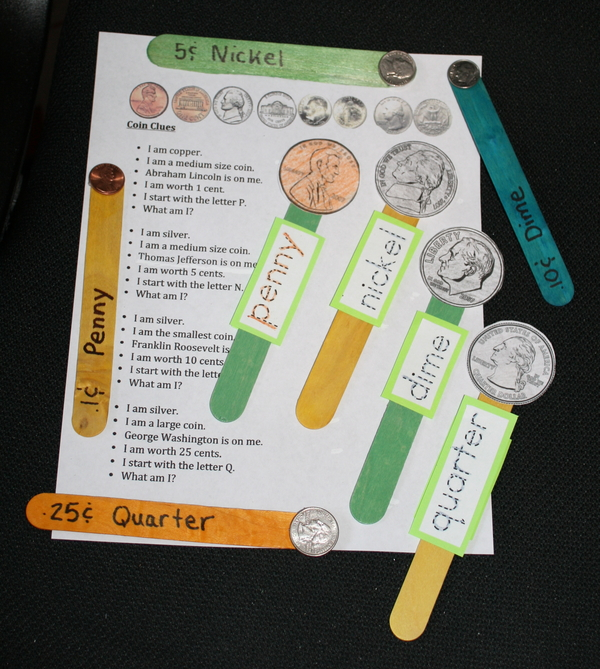 Coin Popsicle Stick Puppets