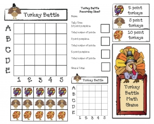 Turkey Battle A November Math Game