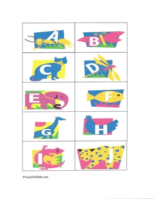 Neon Animal Alphabet Cards