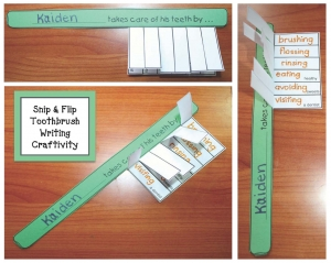 Toothbrush Snip and Flip Writing Prompt Craftivity